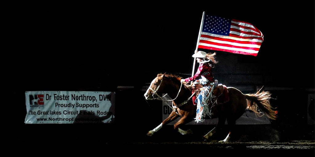 Rodeo Queen with American Flag